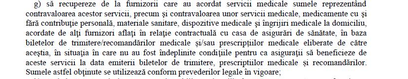 punctul g din Contract de furnizare de servicii RECUPERARE CONTRAVALOARE SERVICII