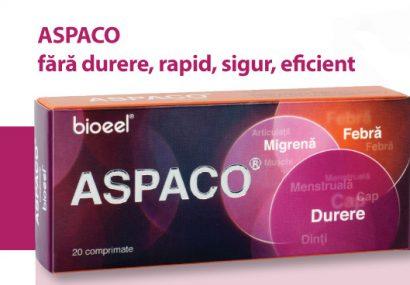 Bioeel: ASPACO, este o combinatie de acid acetil salicilic + paracetamol + codeina