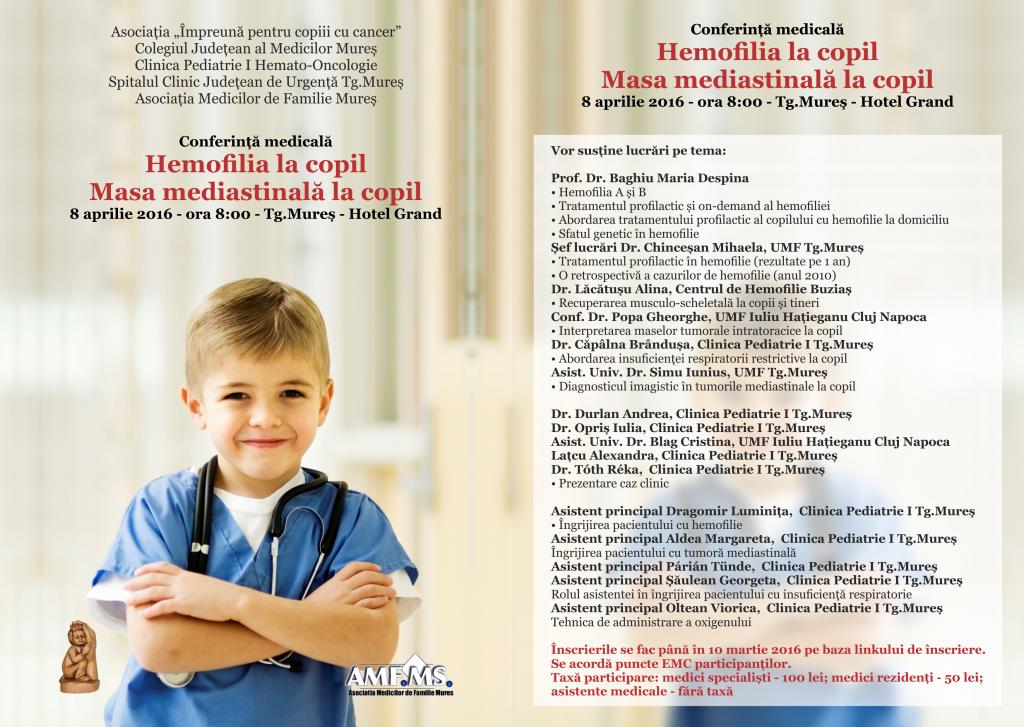 Invitatie cONFERINTA hemofilia la copil