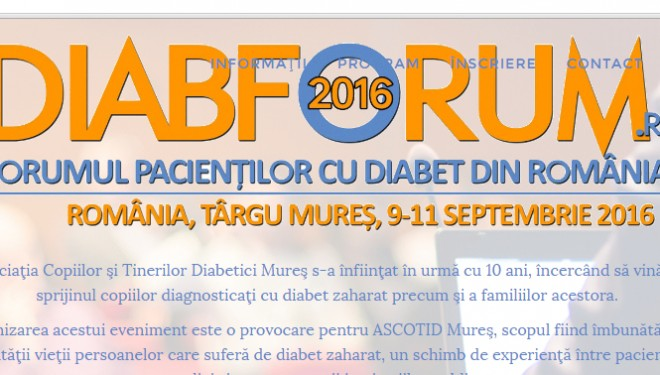 DIABFORUM: Forumul pacientilor cu diabet din Romania 9-11 sept 2016