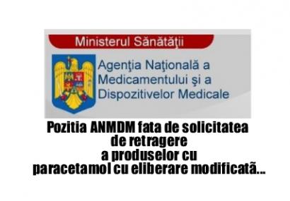 Pozitia Agentiei Nationale a Medicamentului si a Dispozitivelor Medicale (ANMDM) privind recomandarea PRAC de retragere de pe piață a medicamentelor care conţin paracetamol cu eliberare modificată, inclusiv a celor care conţin paracetamol în combinație cu tramadol.