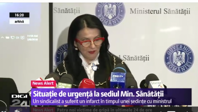 Un sindicalist a făcut un infarct în timpul discuțiilor cu ministrul Sănătății