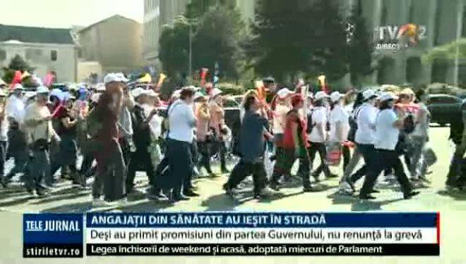 Miting de protest al Sanitas în Piața Victoriei. Deși sunt promisiuni din partea Guvernului, calendarul protestelor nu se schimbă