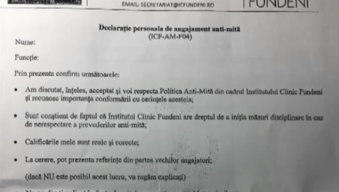 Angajament anti-mită la Institutul Fundeni