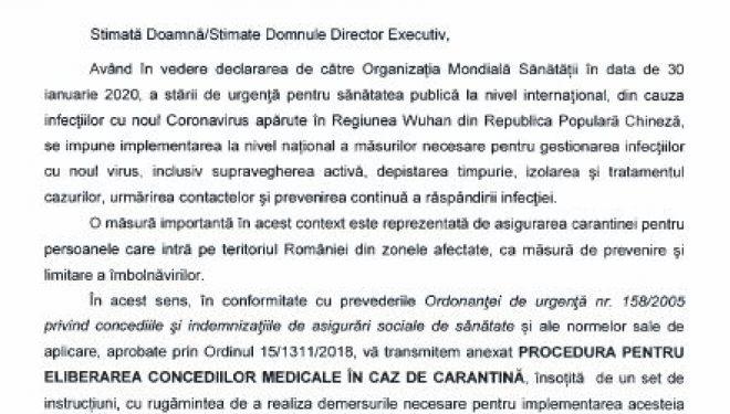 Guvernul Romaniei: Procedura de eliberare a concediilor medicale in caz de carantina.